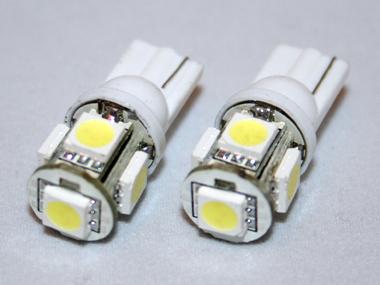 Coppia lampadine luce posizione bianco 5 led t10 w5w for Lampadine led per auto