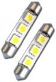COPPIA LAMPADINE SILURO ROSSO 3 LED SMD 42MM CANBUS